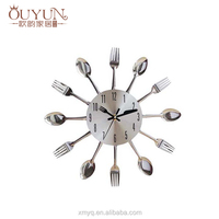 wholesale very cheap and unique kitchen knife and fork wall clock of fujian xiamen promotion gifts items