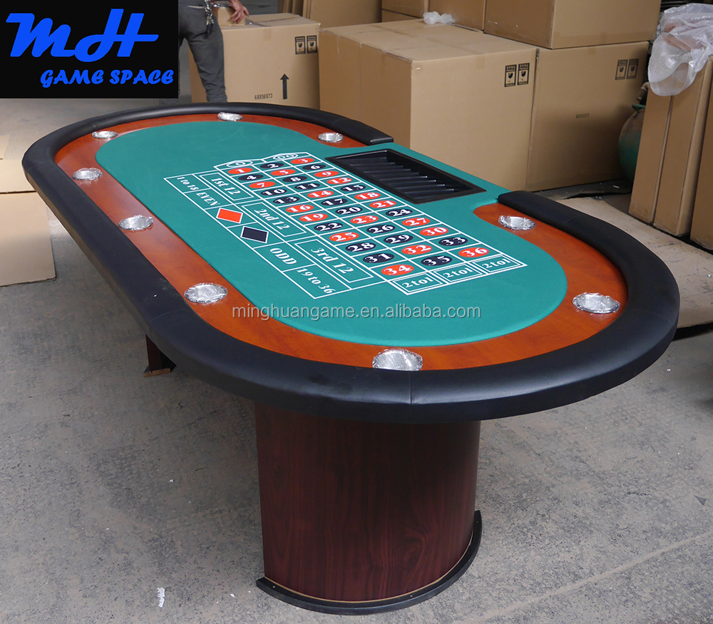 84 Inch Deluxe roulette wheel Poker Table With Wooden Leg
