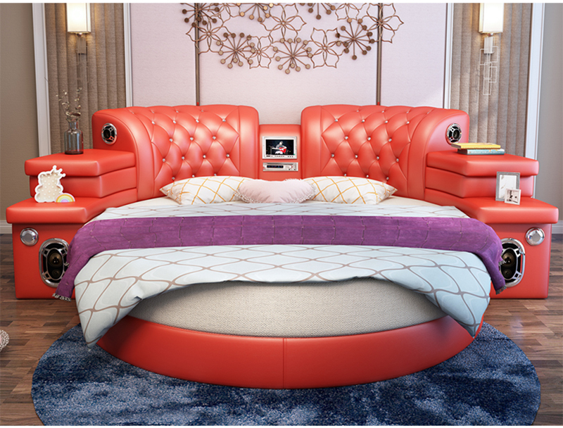 Girls Bedroom Furniture Pink Big Round Leather Bed Cheap