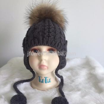 d5b0c2e28da New Design Fur Pom Pom Hats Crochet Baby Hats Children Fur Bobble Hats