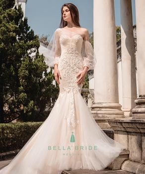 One Shoulder Long Sleeve Sexy Mermaid Wedding Dress 2017 New