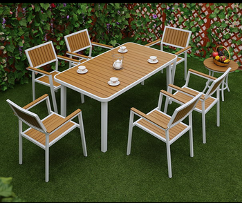 Awesome Garden Outdoor Furniture 6 Seaters Dining Table And Chairs Aluminum Patio Set With Wood Buy Aluminium Patio Set With Wood Outdoor Table And Theyellowbook Wood Chair Design Ideas Theyellowbookinfo
