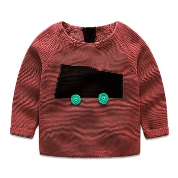 Hot Knitted Applique Car Pattern Round Collar Children Sweater High