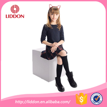Classical fashion black kids semi-high cotton socks, Korean girls loved young girls school cotton socks