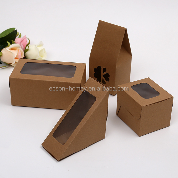 Disposable Custom made triangle kraft sandwich package folding paper sandwich box