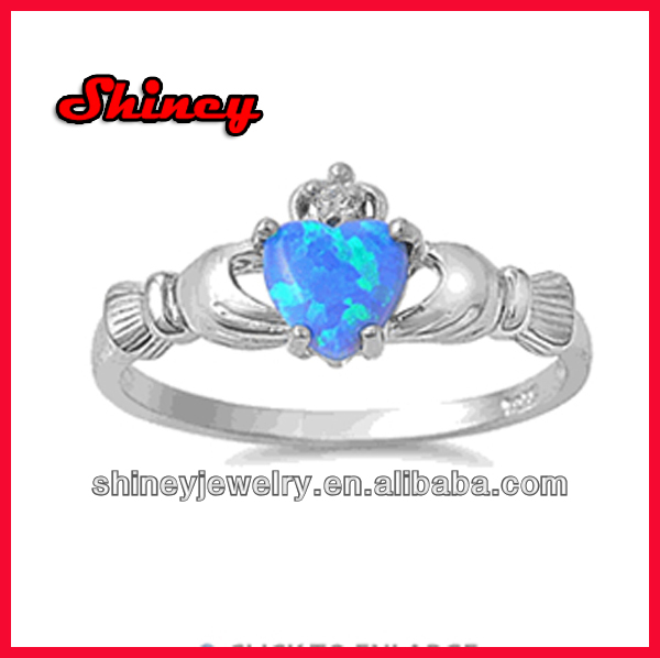 Claddagh Lab Opal CZ Ring 2014 sterling silver ring with zircon