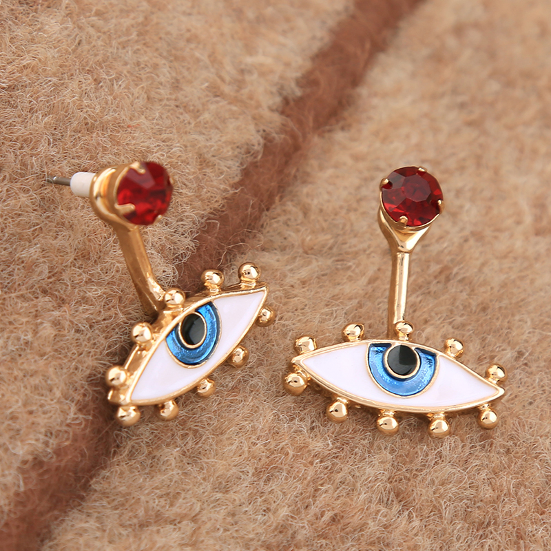 Mass Produce India Jhumka Gold Earrings Eveil Eye Hanging Glod ...