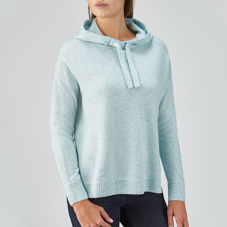 Damen Strickpullover Langarm Hoodies Mantel Lose Lässige Fleece Hoodie