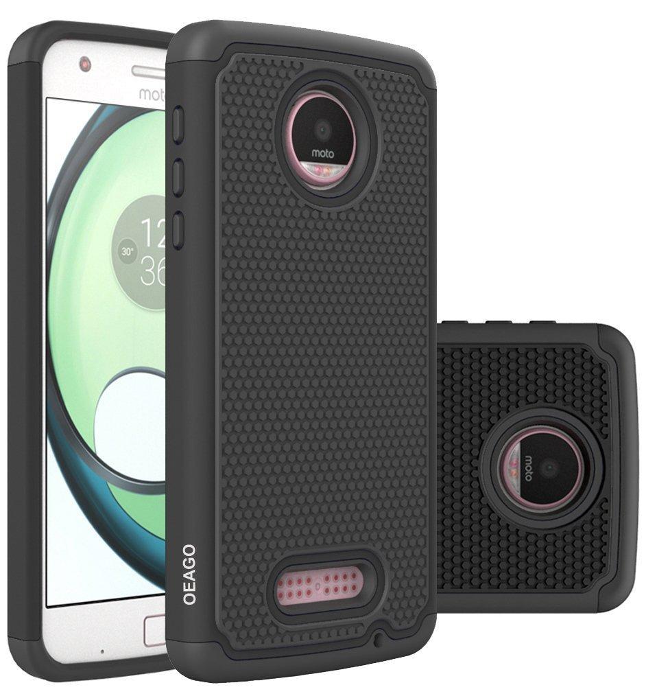 Motorola Moto Z Play Case, Moto Z Play Droid Case OEAGO [Shock Proof] Hybrid Dual Layer Rubber Plastic Impact Defender Rugged Slim Hard Case Cover Shell for Moto Z Play / Moto Z Play Droid - Black