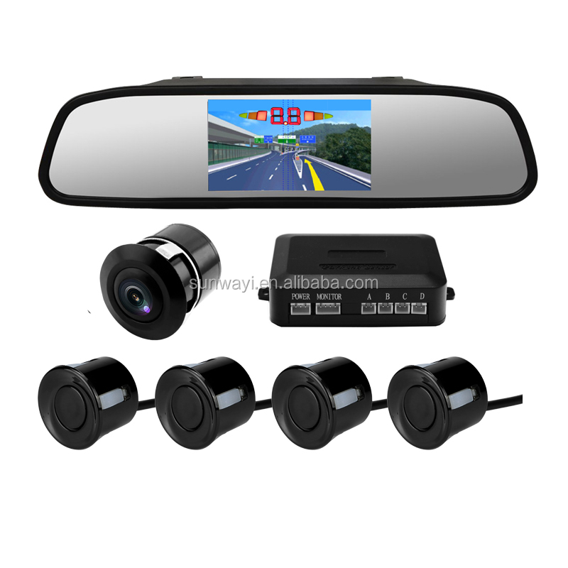 4.3 inch Mirror Display ultrasonic visual Parking Sensor with car rearview camera