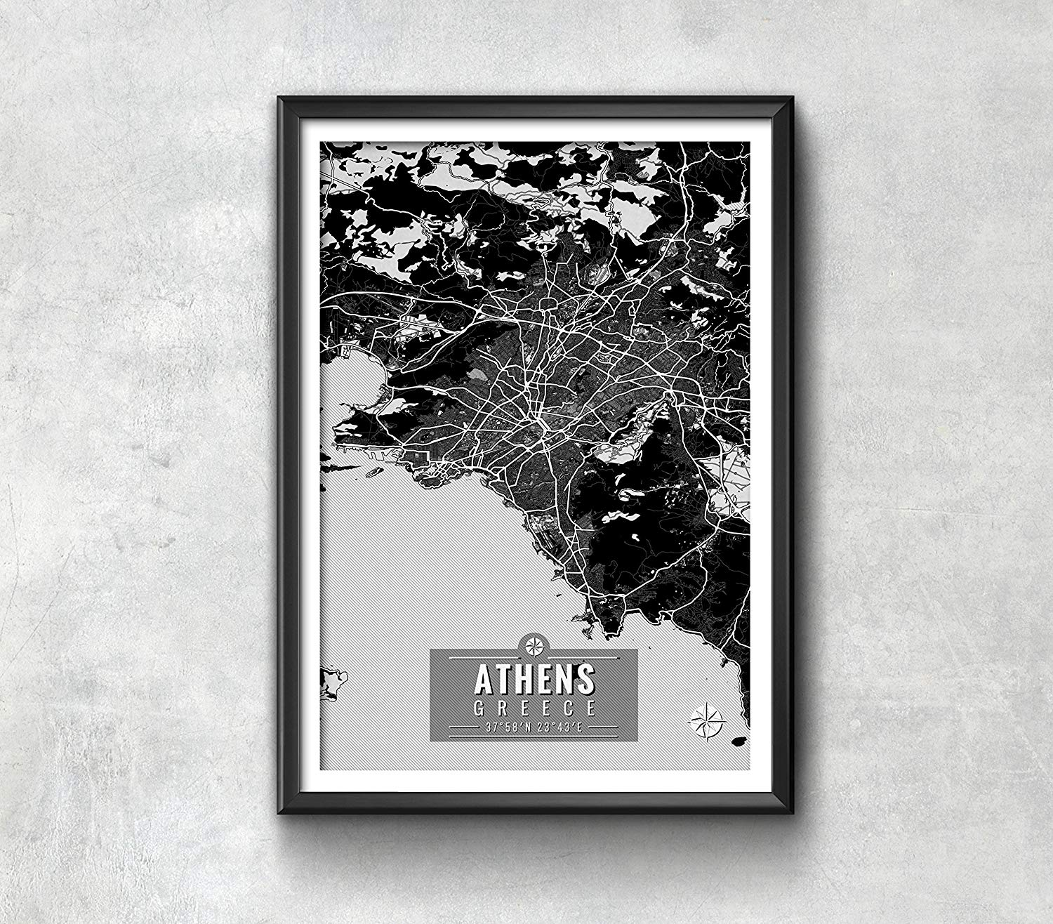 Athens Greece Map with Coordinates, Athens Wall Art, Athens Map, Map Art, Map Print, Athens Print, Athens Art, Athens Gift, Map, Athens Map