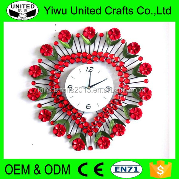 Decorative clock roman numerals metal wall clock with rose