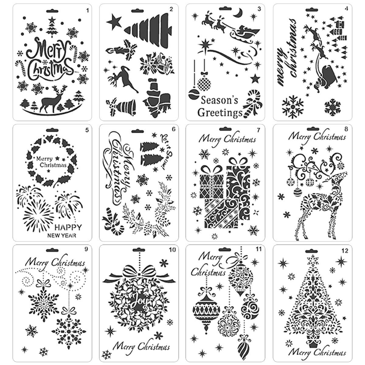 Pack of 12 Christmas DIY Painting Drawing Stencils Templates Merry Christmas Santa Claus Christmas Tree Snowflakes Bulbs Reindeers Firework