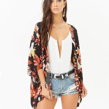 4fd7a4d373fe Hippie Chic Floral Follaje Impresión Kimono Para Mujer Tops Blusas 2018  Venta Al Por Mayor Estilo Bohemio Tailandia Camisetas De Las Señoras De  Último ...
