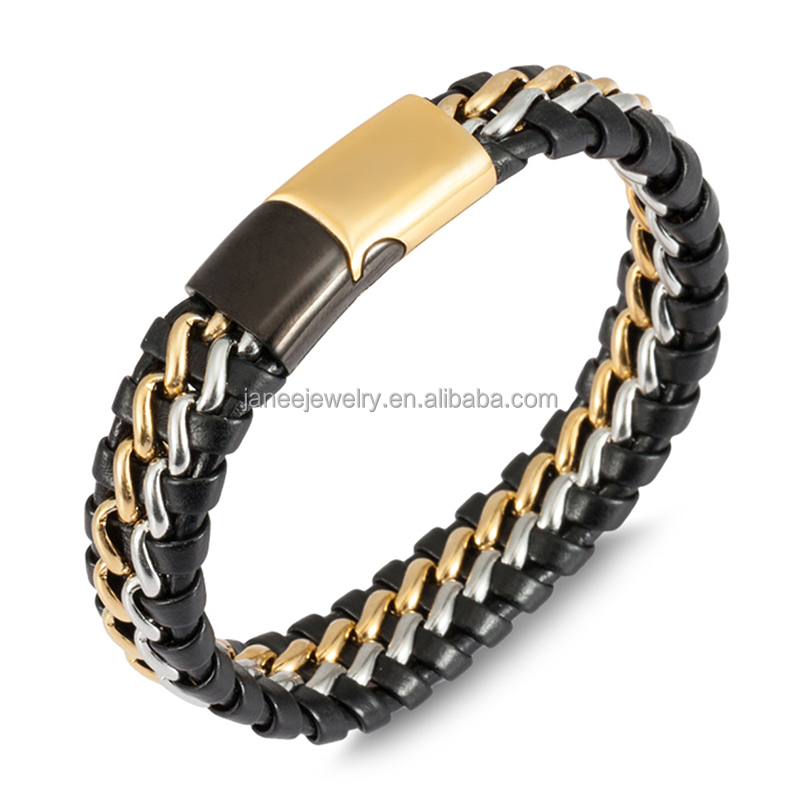 Best Gift Products Men Stainless Steel Gold Silver Chain Braided Custom Engravable Jewelry Wholesale Leather Bracelet Blanks
