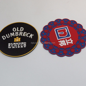 New design logo beer mat custom printed round silicone coaster with logo soft pvc rubber round coasters