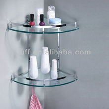 Chromed Polished Hook Bathroom Shelves Double Layer Triangle Shelf Corner two tier glass shelf