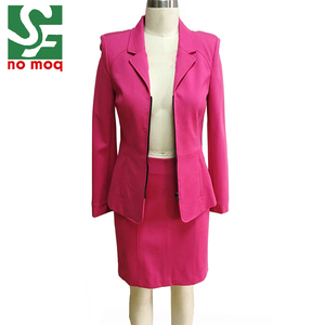 Ladies Pink Sexy Sets Formal Short Skirt Woman Suit