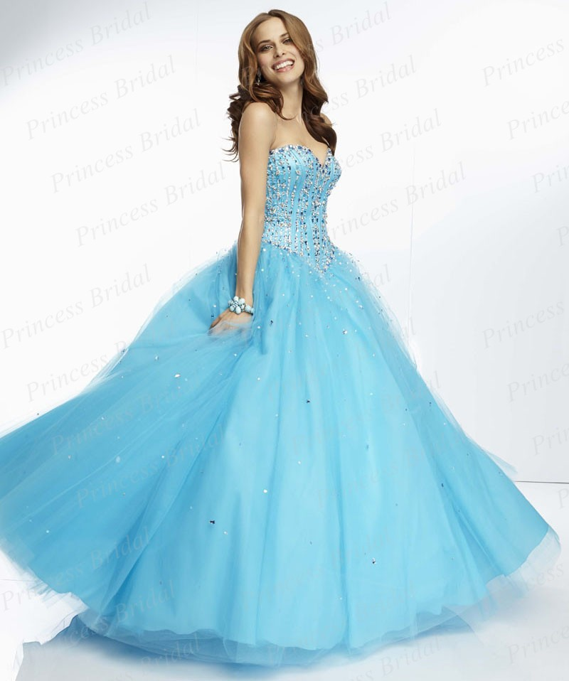 Free Shipping Fluffy Ball Gown Sweetheart Floor Length Long Tulle Puffy Party Prom Dress With Beadings PA9545