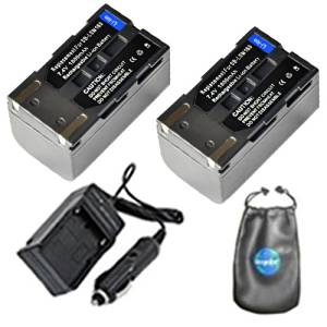 amsahr ValuePack (2 Count): Digital Replacement Digital Camera and Camcorder Battery PLUS Mini Battery Travel Charger for Samsung SB-LSM160, SC: D263, D353, D362 - Includes Lens Accessories Pouch