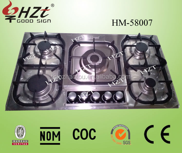 Home appliances, cast iron 5 burner built-in gas cooker