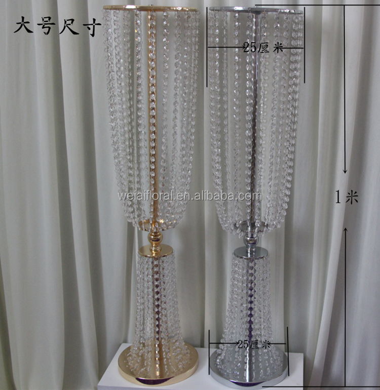 Gold silver tie waist flower holder candlestick crystal road lead wedding decoration wedding props welcome area decoration
