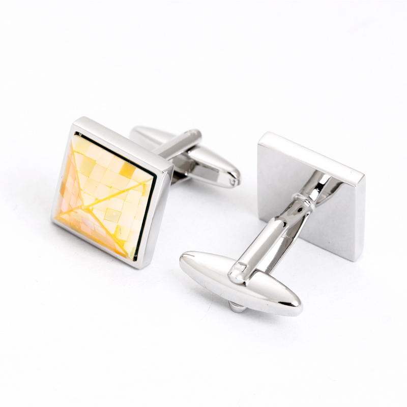 Fashion mother of pear tourbillon cufflinks brass alloy cufflinks