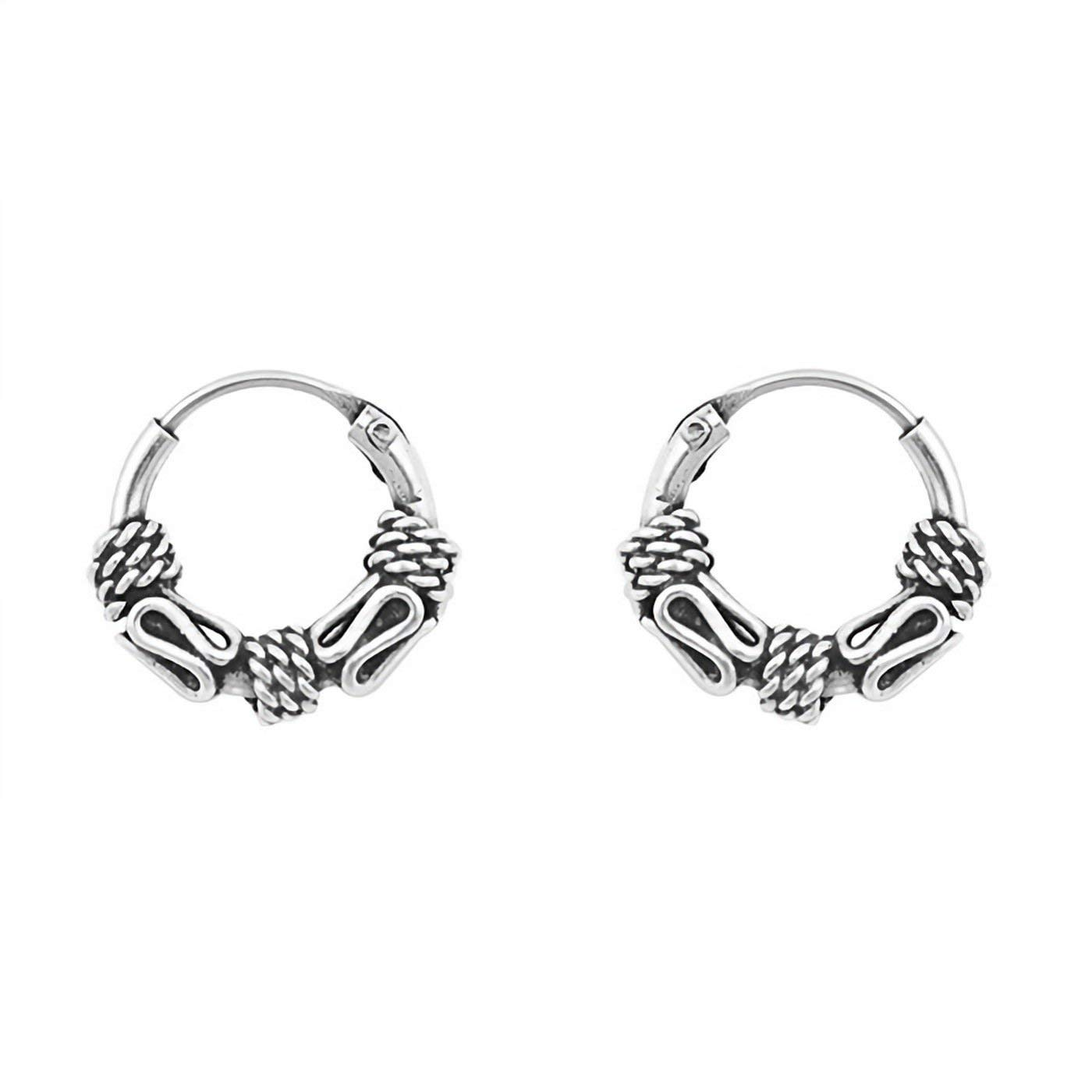 a4300ed3fc7a59 Get Quotations · Small 8mm Bali Endless Hoop Earrings 925 Sterling Silver  Women Antique Style Jewelry