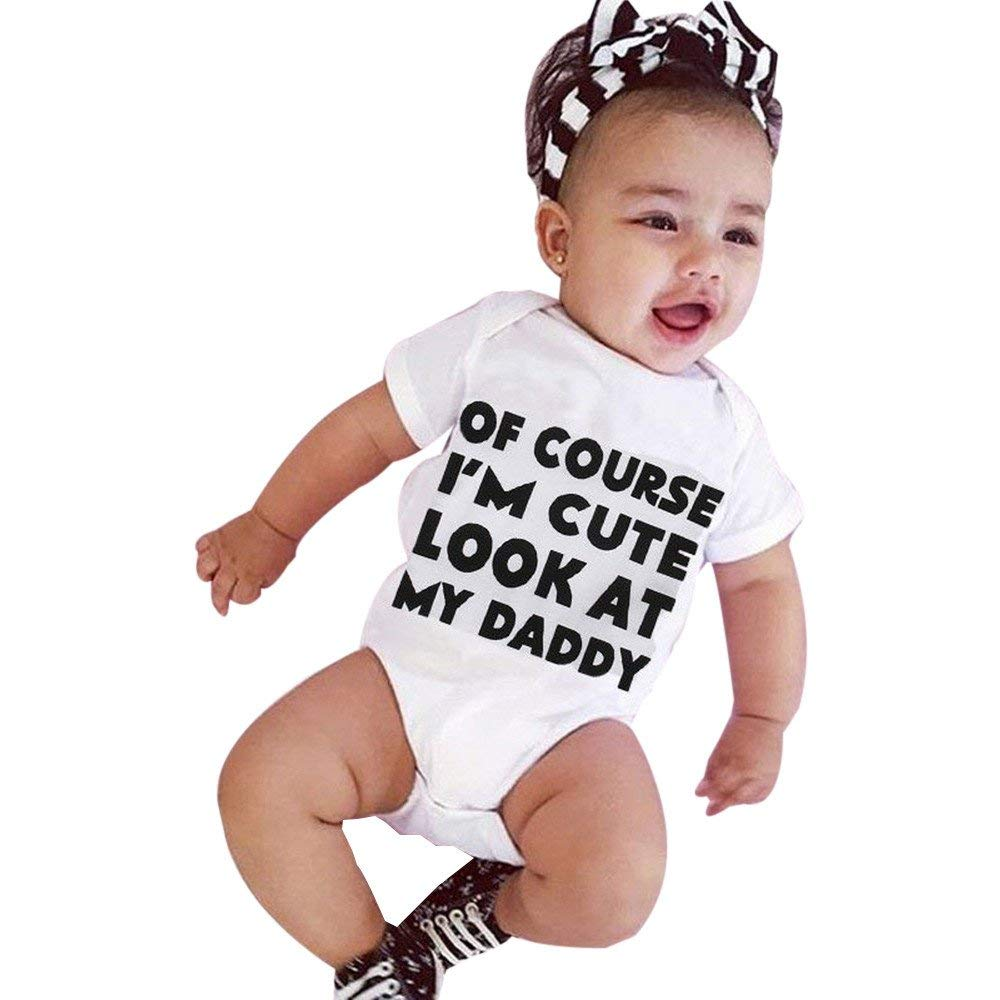 845a78572d9 Get Quotations · Tanhangguan of Course IM Cute Baby Boy Girl Romper Letter  Romper Jumpsuit Bodysuit Jumper Clothes Outfits