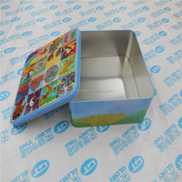 colorful square metal tin container for cookie packing