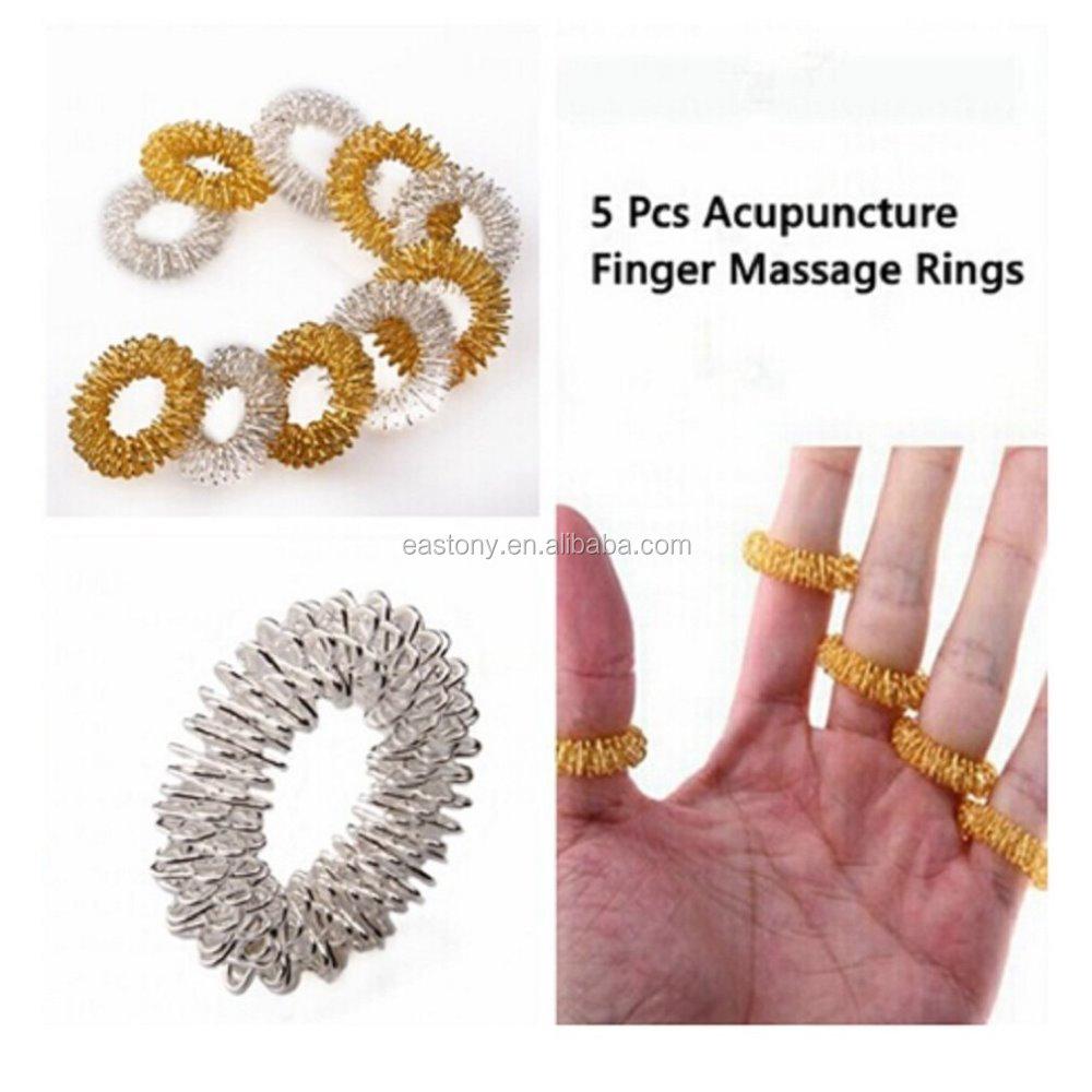 5 Acupressure Rings,1 Acupuncture Bracelet,Finger Massager