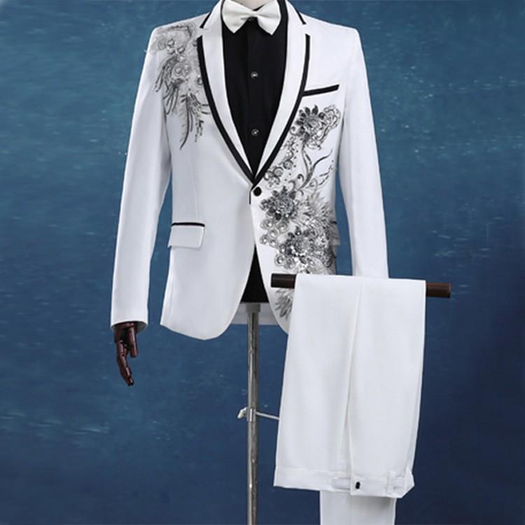2017 New Design Hand Work Mens Wedding Suit Groom Tuxedo Wedding ...