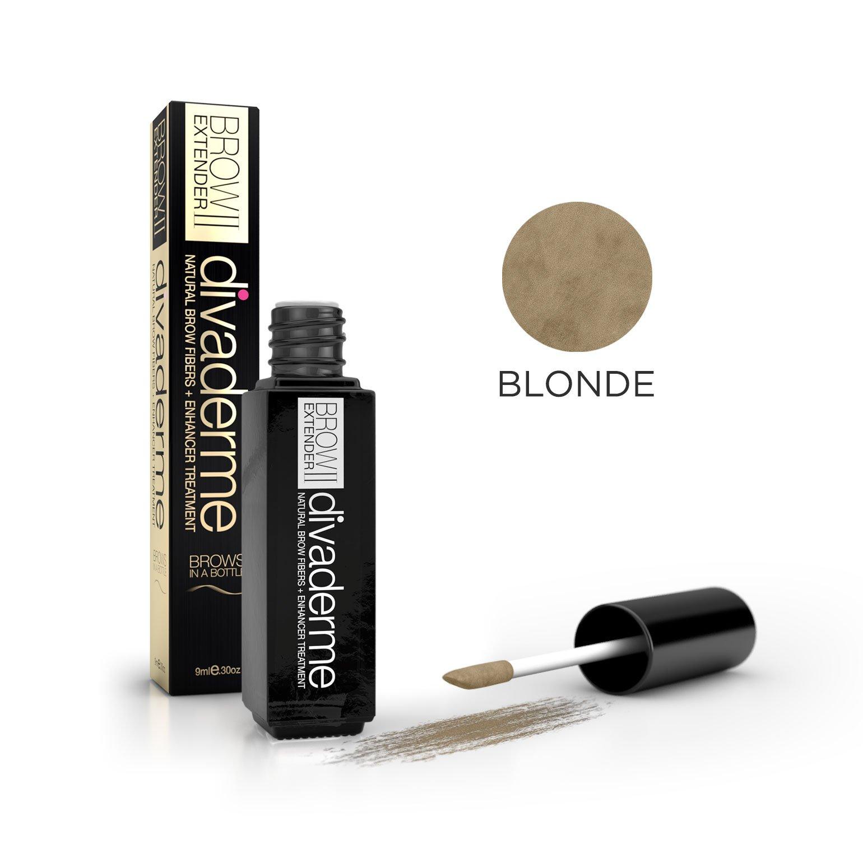 Divaderme Brow Extender II - Black Glass Bottle Edition - 100% Natural Semi Permanent - Eyebrow Fibers + Enhancer Treatment - Made in USA (Blonde)