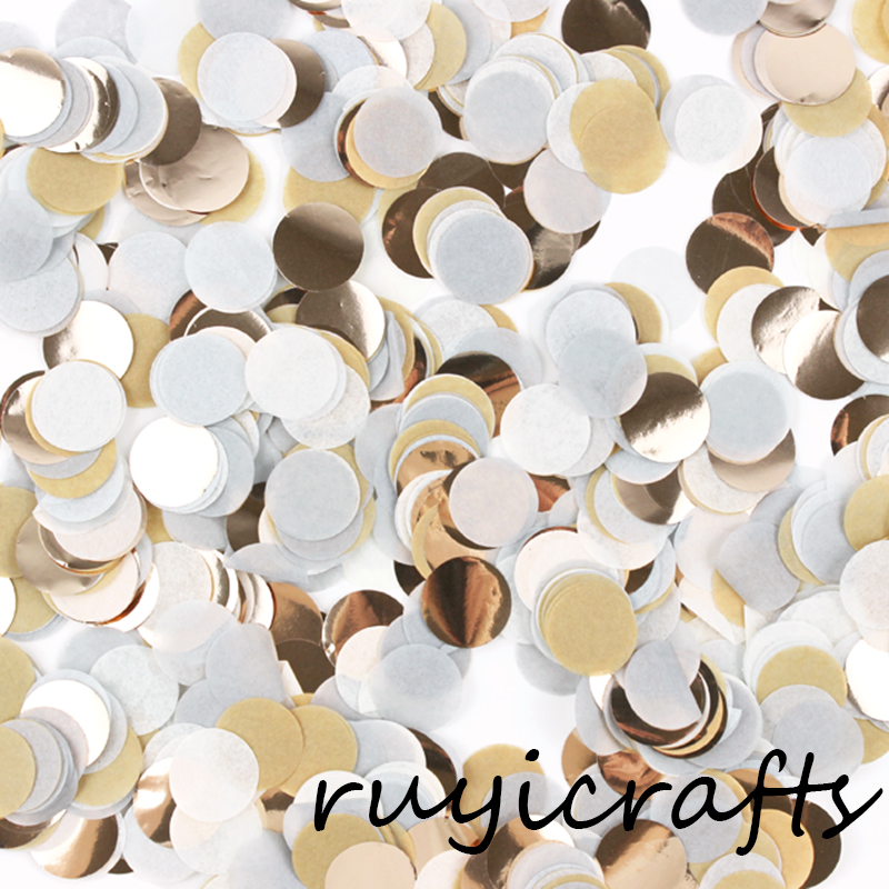Cream White Gold Round Shaped Paper Wedding Confetti