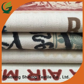 Factory Custom Postage Stamp Printed Fabric Cotton Canvas Home Textile