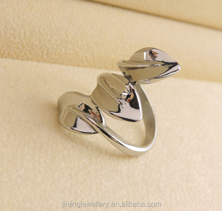 Olive leaf wrapped shaped stainless steel rings for women