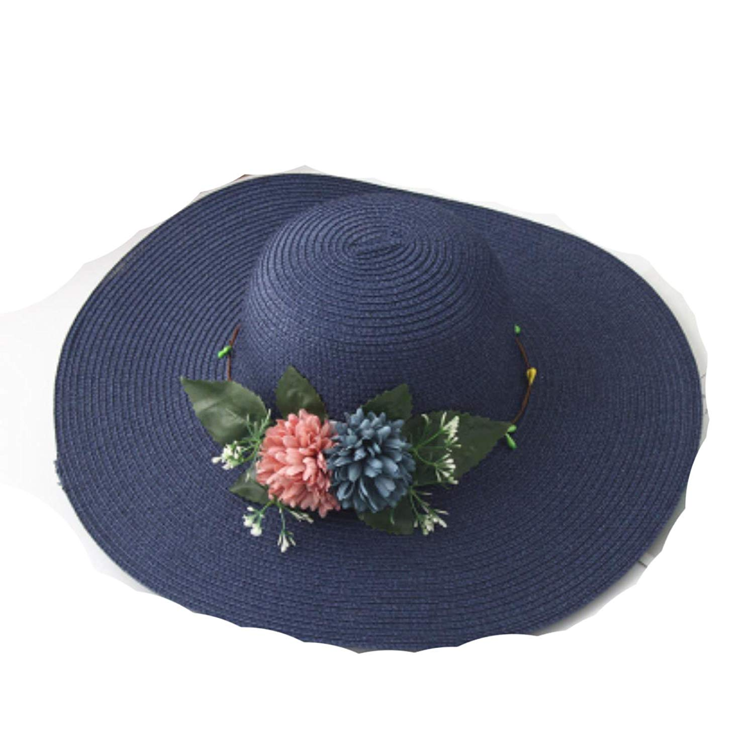 Get Quotations · Women Wide Brim Summer Sun Hat Big Flower Floppy Beach Hat  Sun Bonnie Ladies Packable Straw 8164c6b1415a