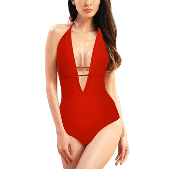 Hot Selling Summer Fashion Sexy Red High Cut One Piece Swimwear Swimsuit For Women