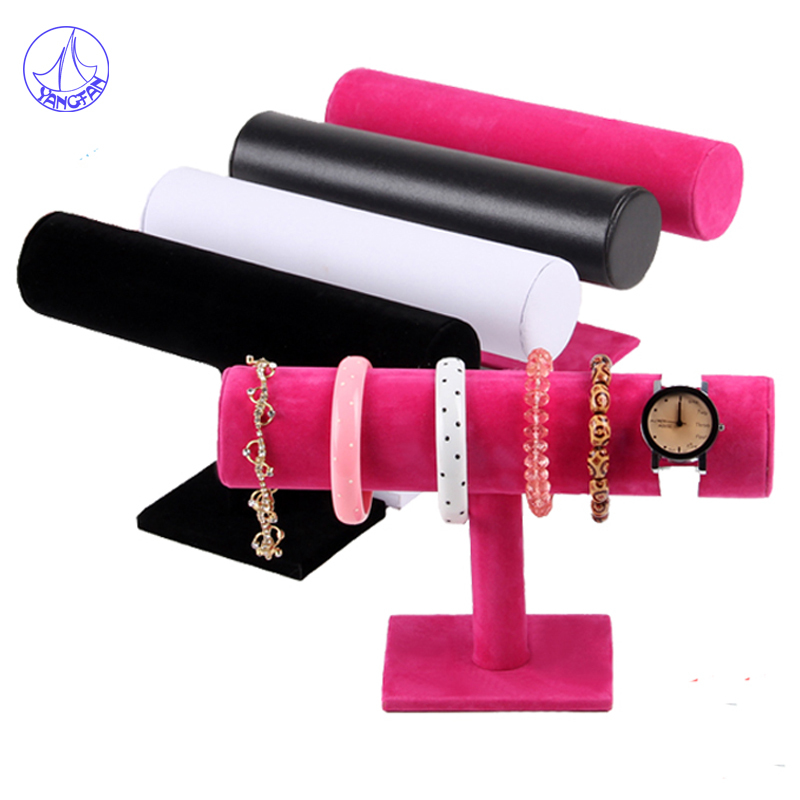 Free Shipping 23.5x7x13.5cm Black Leather Jewelry Bracelet Necklace Watch Display Stand Holder T-bar JD#525