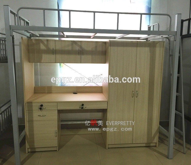 Cheap Dorm Furniture Metal Bunk Bed Parts Assembly Instructions With Desk  And Wardrobe