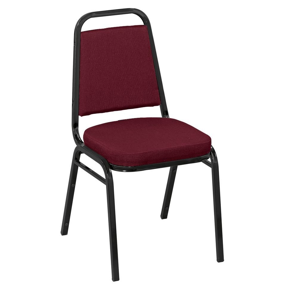 """Square Back Fabric Stack Chair with 2"""" Seat Dimensions 17.5""""W x 22""""D x 33""""H Seat Dimensions 16""""Wx16""""Dx17.5""""H Back Dimensions 12.25""""Wx12.25""""H Weight 18 lbs - IM Burgundy Fabric/Black Frame"""