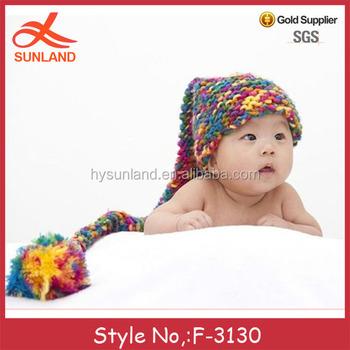 F-3130 newborn crochet knitted baby cotton hats wholesale long tail free  pattern winter baby abcdd27e298