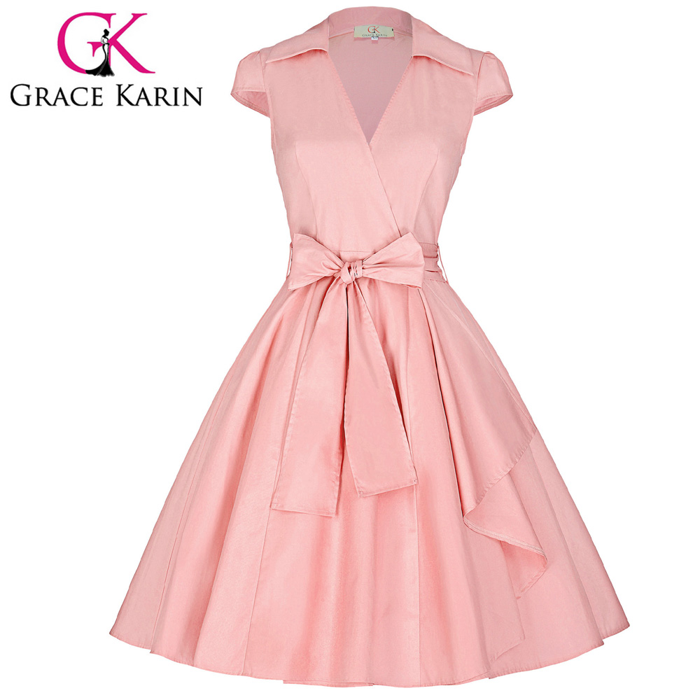 Grace Karin Cap Sleeve Lapel Collar V-Neck Retro Vintage High-Stretchy Pink Party Dress CL008953-4