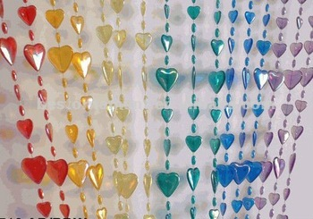 Iridescent Hearts Rainbow Doorway Acrylic Beaded Curtains