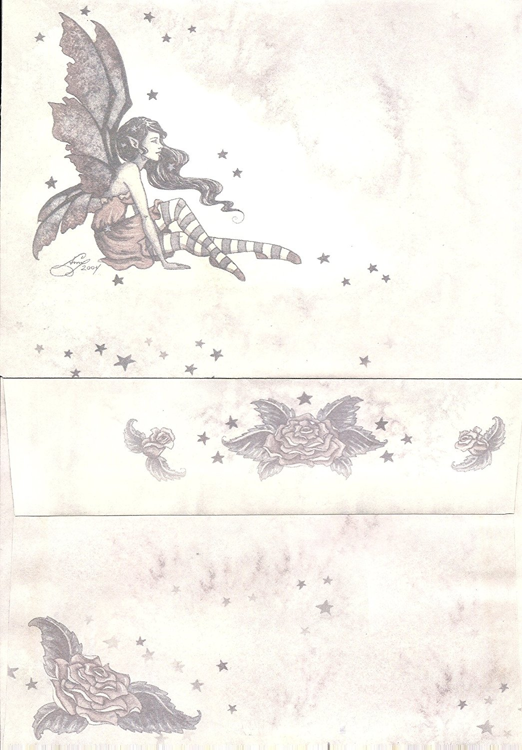 "Amy Brown 24 Count Envelopes Fairy with Roses and Stars 7.25"" x 5.25"" ~ Brown"