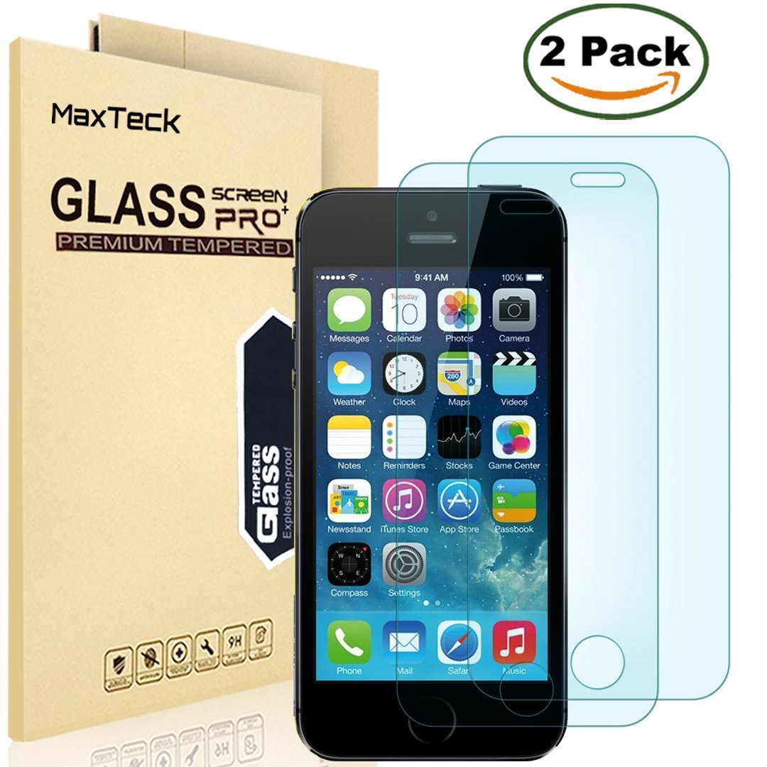 """[2 Pack] iPhone SE 5 5S 5C Screen Protector, MaxTeck 0.26mm 9H Tempered Glass Shatterproof Screen Protector Anti-Shatter Film for iPhone 5 5S 5C SE 4"""" inch"""