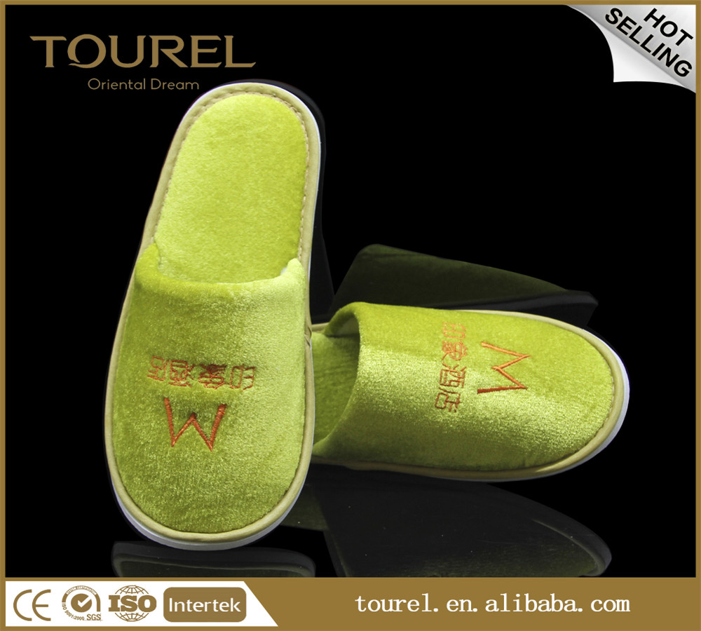 wholesale cheap custom four season hotel pleuche slippers