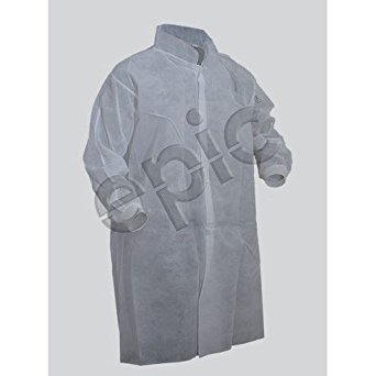 Epic 845885-2XL Breathable Polypropylene Cleanroom Lab Coats, XL, Capacity, Volume, Spunbonded Polypropylene, Xx-Large, White (Pack of 50)
