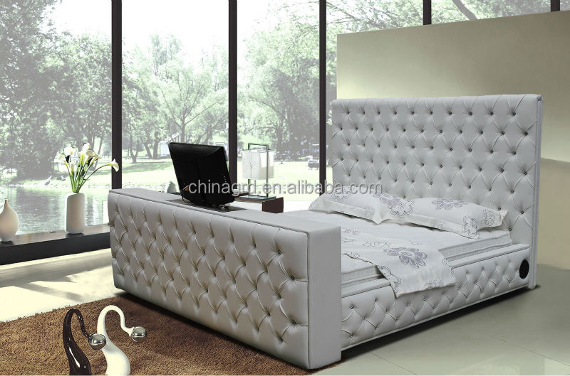 Alibaba Tufted Designs King Size Leather Bed With Tv In Footboard G922