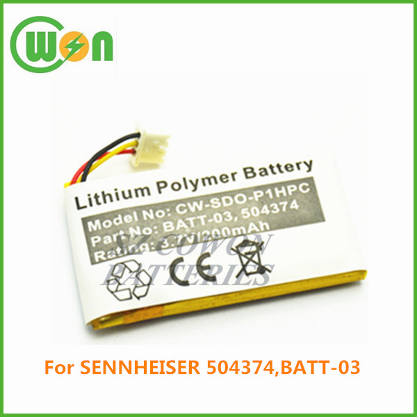 3.7V 200mAh li ion battery for SENNHEISER 504374 BATT-03, replacement battery SD Office ML SD Pro1 ML SD Pro2 ML MB Pro series